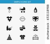set of 12 editable infant icons....