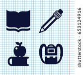 Set Of 4 Study Filled Icons...