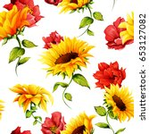 Seamless Pattern Of Sunflowers...