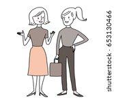 cute women standing and talking.... | Shutterstock .eps vector #653130466