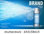 spray bottle isolated on blue... | Shutterstock .eps vector #653158615