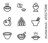 bowl icons set. set of 9 bowl... | Shutterstock .eps vector #653175388