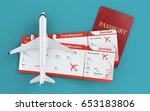 airplane and boarding passes.... | Shutterstock . vector #653183806