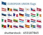 set of waving flags of eu ... | Shutterstock .eps vector #653187865