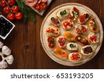 crostini with different... | Shutterstock . vector #653193205