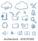 set with different file sharing ... | Shutterstock .eps vector #653195182