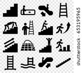 staircase icons set. set of 16... | Shutterstock .eps vector #653195965