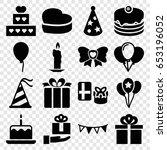 birthday icons set. set of 16... | Shutterstock .eps vector #653196052