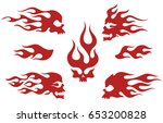 red silhouettes of flaming... | Shutterstock .eps vector #653200828