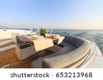 romantic lunch on motor yacht... | Shutterstock . vector #653213968