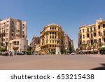 Stock photo famous talaat harb square in downtown cairo egypt 653215438