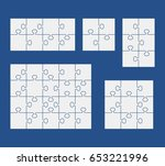 puzzles on blue background. set ... | Shutterstock .eps vector #653221996