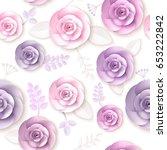 vector flowers seamless pattern ... | Shutterstock .eps vector #653222842