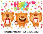 cartoon teddy bear characters... | Shutterstock .eps vector #653223382