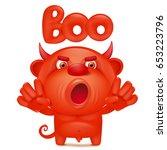 funny cartoon red little devil... | Shutterstock .eps vector #653223796