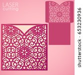 die laser cut wedding card... | Shutterstock .eps vector #653230936