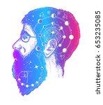 scientist tattoo. double...   Shutterstock .eps vector #653235085