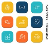 set of 9 fitness outline icons... | Shutterstock .eps vector #653235892