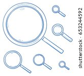 icon set of magnifying glasses... | Shutterstock .eps vector #653244592