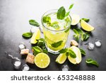 mojito and ingredients.... | Shutterstock . vector #653248888