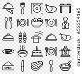 set of 25 outline icons such as ...   Shutterstock .eps vector #653254165
