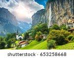 amazing touristic alpine... | Shutterstock . vector #653258668