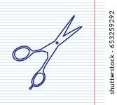 hair cutting scissors sign.... | Shutterstock .eps vector #653259292