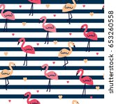 seamless pattern with flamingo  ... | Shutterstock .eps vector #653260558