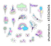 unicorn multicolor stickers... | Shutterstock .eps vector #653263606
