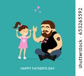 happy father's day greeting... | Shutterstock .eps vector #653265592