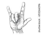 hand symbolizing a gesture rock ... | Shutterstock .eps vector #653266396