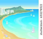 hawaii ocean bay blue water... | Shutterstock .eps vector #653278522