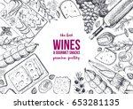 wines and gourmet snacks frame... | Shutterstock .eps vector #653281135