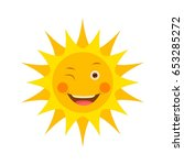 smiling sun icon illustration | Shutterstock .eps vector #653285272
