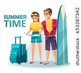 young couple going on a summer... | Shutterstock .eps vector #653287342