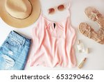 woman clothes and accessories ... | Shutterstock . vector #653290462