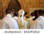 bishop goes to mass in the... | Shutterstock . vector #653291812