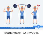 funny cartoon man doing sports... | Shutterstock .eps vector #653292946