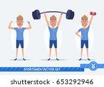 funny cartoon man doing sports... | Shutterstock .eps vector #653292946