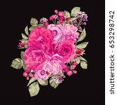elegant pink roses floral... | Shutterstock .eps vector #653298742