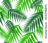 palm leaf seamless pattern.... | Shutterstock .eps vector #653298892