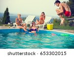 young in pool scared look his... | Shutterstock . vector #653302015