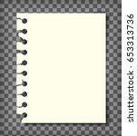 blank notebook page with torn... | Shutterstock .eps vector #653313736