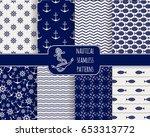 seamless nautical patterns set. ... | Shutterstock .eps vector #653313772