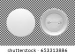 blank white round pin. graphic... | Shutterstock .eps vector #653313886