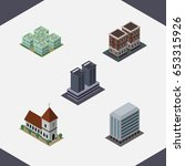 isometric urban set of office ... | Shutterstock .eps vector #653315926