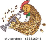 rooster with trumpet. isolated... | Shutterstock .eps vector #653316046