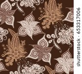 orient seamless pattern. floral ... | Shutterstock .eps vector #653317006