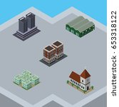 isometric building set of tower ... | Shutterstock .eps vector #653318122