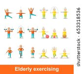 elderly man and woman doing... | Shutterstock .eps vector #653318536